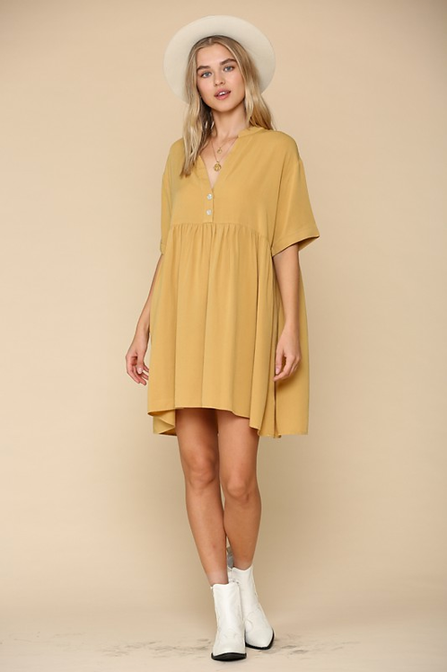 V neck button front tencel baby doll tunic dress