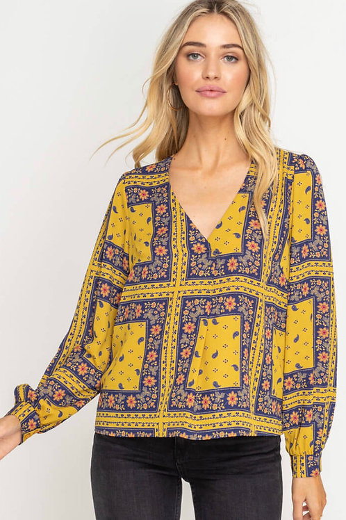 V Neck Print Blouse