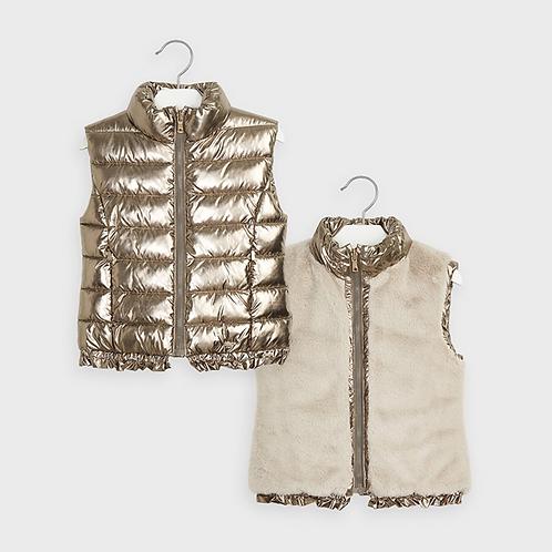 Reversible Metallic and Fur Vest