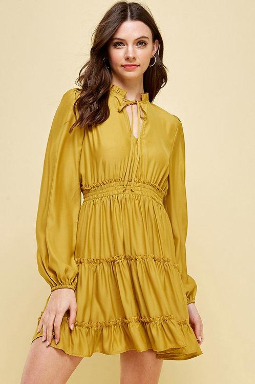 Golden Yellow Tiered Dress