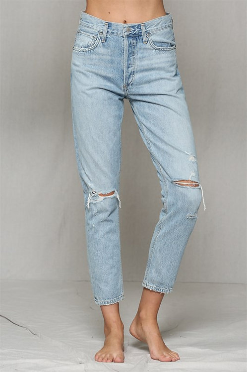 Cotton ripped distressed highwaisted boyfriend jeans