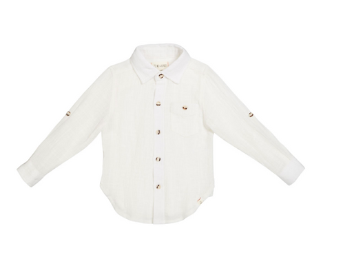 Me & Henry White Button Long Sleeve
