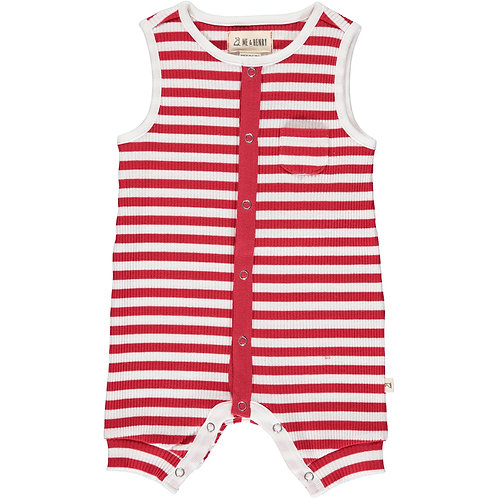 Me and Henry Red Striped Playsuit