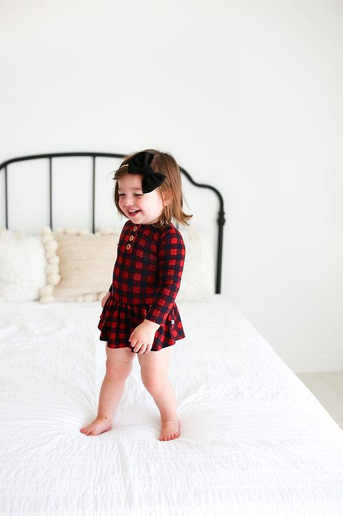 Posh Peanut Grayson Long Sleeve Henley Twirl Skirt Bodysuit