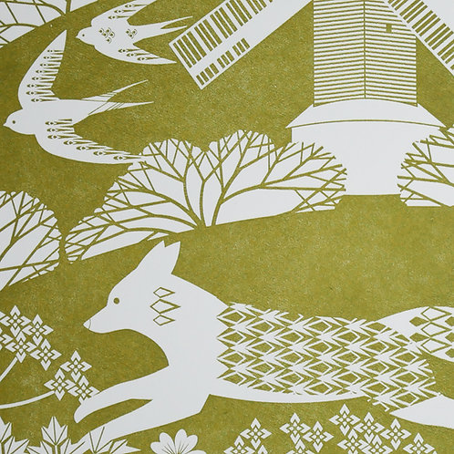 Fox on the South Downs Olive Letterpress Print