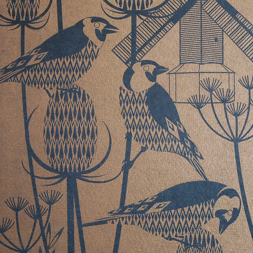 Goldfinches at Oldland Mill  Letterpress Print Bronze on Black Paper