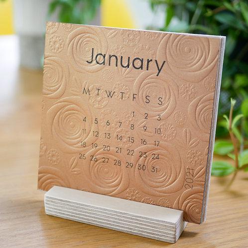 2021 Hand Embossed Floral Pattern Desk Calendar