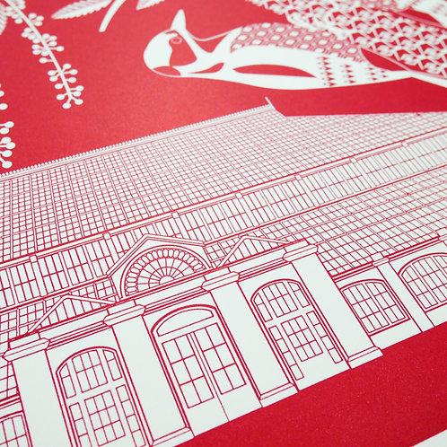Woodpeckers at Kew Gardens Red Letterpress Print