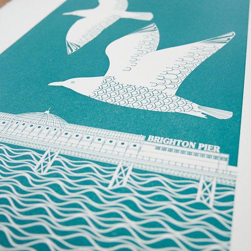 Flying Seagulls over Brighton Pier Dark Teal Letterpress Print