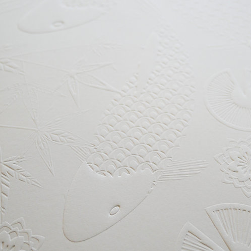 Koi Fish Swimming Embossed Paper