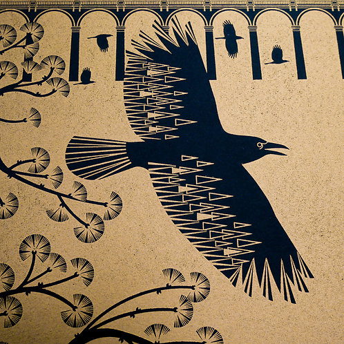 Crows at the Viaduct Gold on Black Paper Letterpress Print