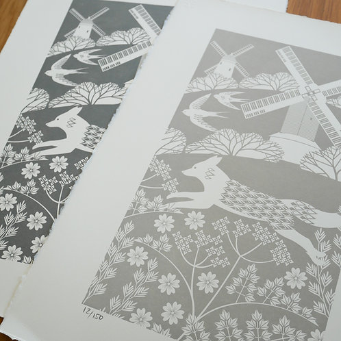 Fox on the South Downs Grey Letterpress Print