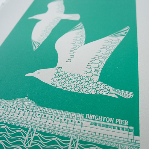 Flying Seagulls Over Brighton Pier Turquoise Letterpress Print