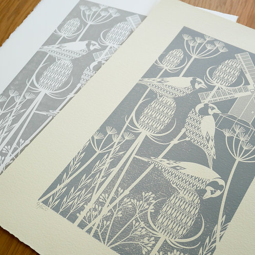 Goldfinches at Oldland Mill Grey Letterpress Print