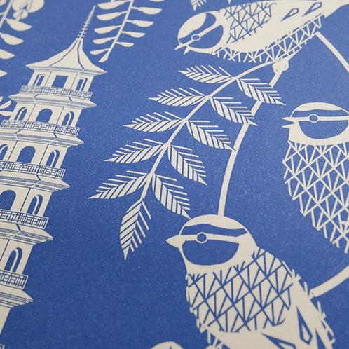 Blue Tits at Kew Gardens Blue Letterpress Print