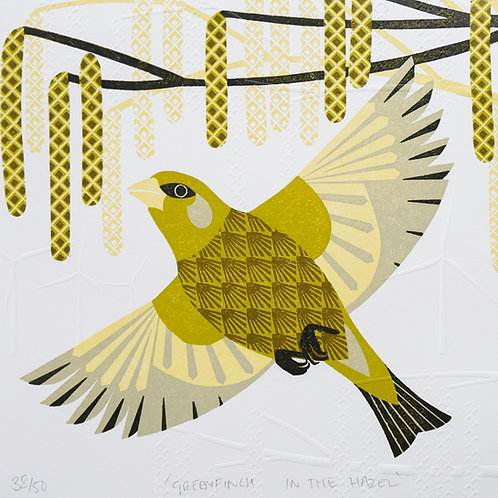 Limited Edition Green Finch in the Hazel Lino Cut And Hand Embossed Pr
