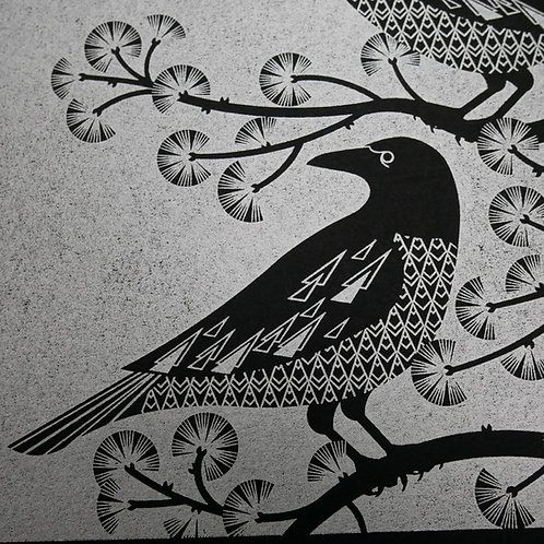 Crows at the Viaduct Silver on Black Paper Letterpress Print