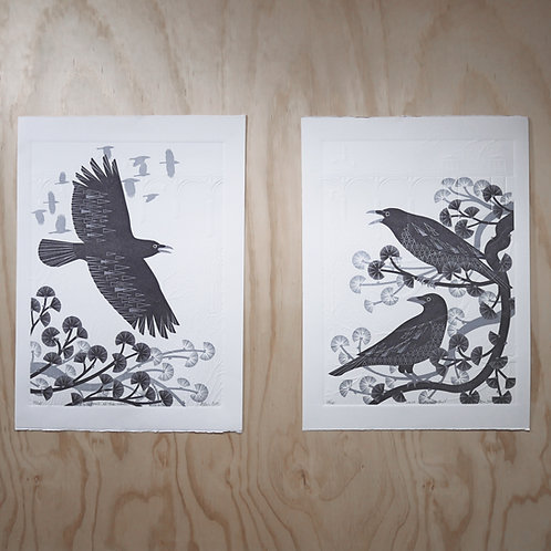 Diptych of Crows at the Viaduct