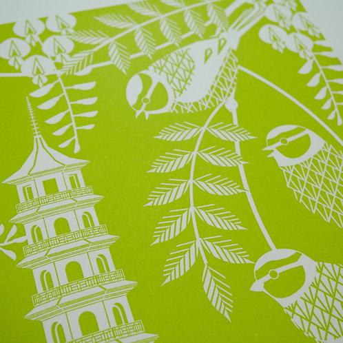 Blue Tits at Kew Gardens Green Letterpress Print