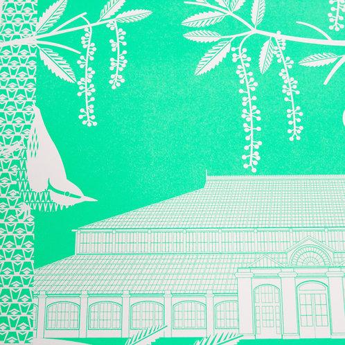 Woodpeckers at Kew Gardens Green Letterpress Print