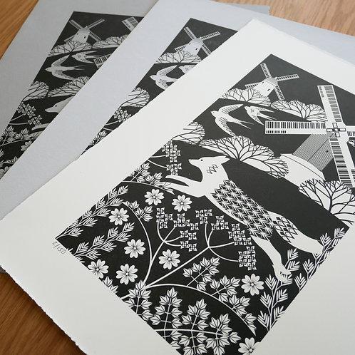 Fox on the South Downs Black Letterpress Print