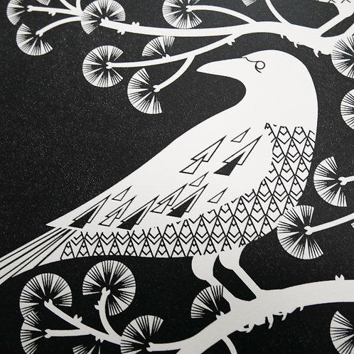 Crows at the Viaduct Black on White Paper Letterpress Print