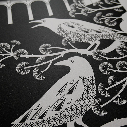 Crows at the Viaduct Black on Grey Paper Letterpress Print