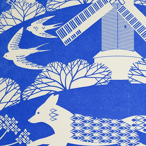 Fox on the South Downs Blue Letterpress Print