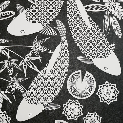 Koi Fish Swimming Black Letterpress Print