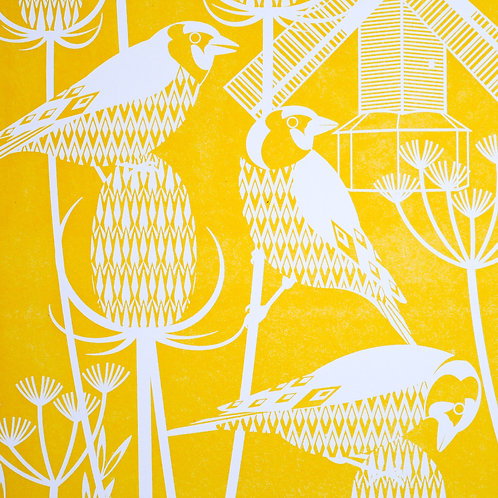 Goldfinches at Oldland Mill Yellow Letterpress Print