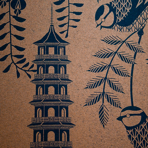 Blue Tits at Kew Gardens Bronze on Black Paper Letterpress Print