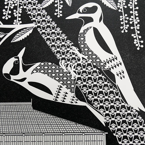 Woodpeckers at Kew Gardens Black Letterpress Print