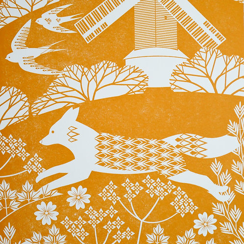 Fox on the South Downs Orange Letterpress Print