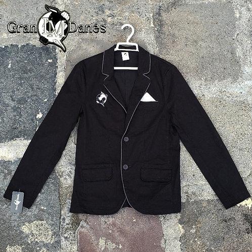 Saco blazer Gran Danes LM negro logo bordado para pañuelo