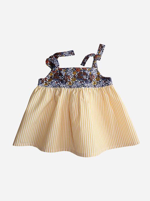 Top Juliette - Haut à bretelles nouées jaune à rayures et motif Liberty