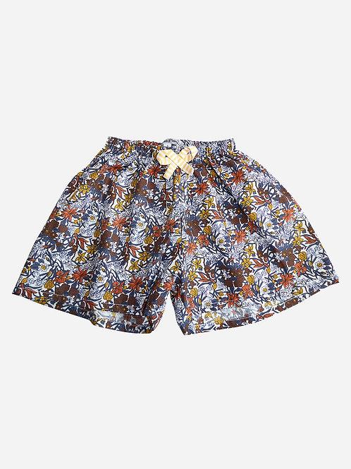 Jupe culotte Elise - motif fleurie Liberty marron