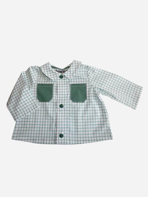 Chemise Victor - Motif à carreaux blanc et vert