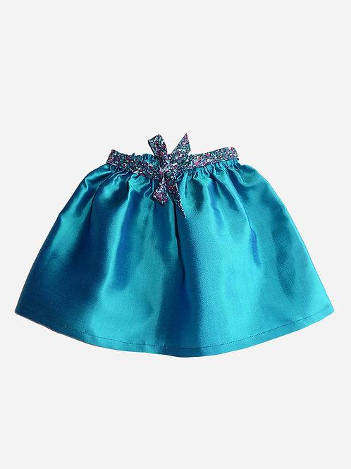 Jupe Adèle - Soie bleu turquoise avec ceinture nouée