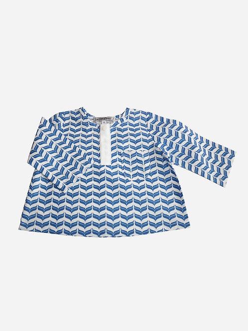Polo Jules -  Coton imprimé bleu et blanc