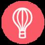 Balão de ar quente - rosa