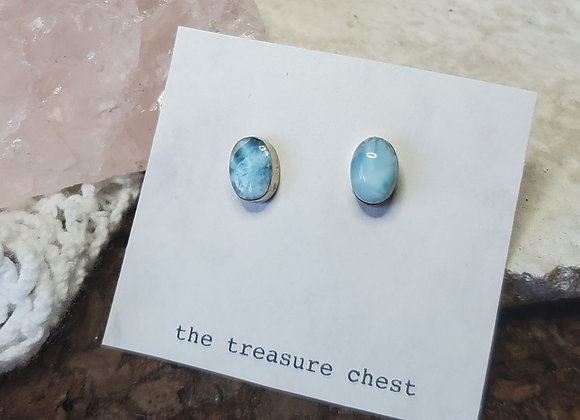 Larimar Silver Stud Earrings
