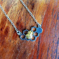 Mixed Metal Bee Necklace