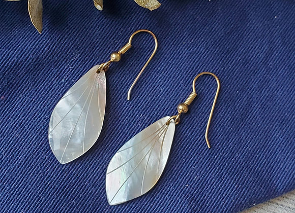 Carved Mother of Pearl Dangle Earrings