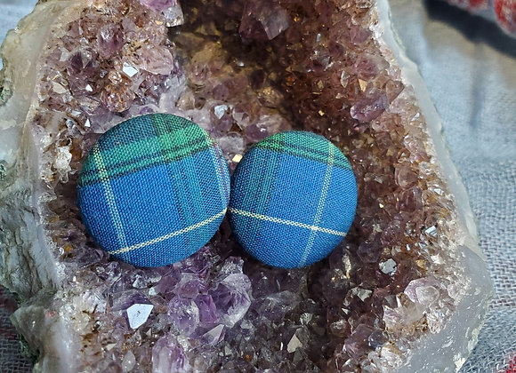 Plaid Fabric Button Earrings