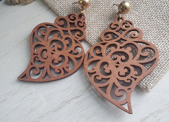 Wooden Cutout Dangle Earrings