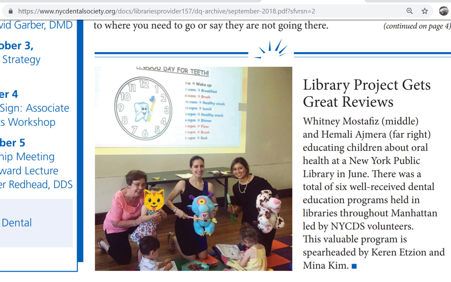 NYCDS Library Outreach