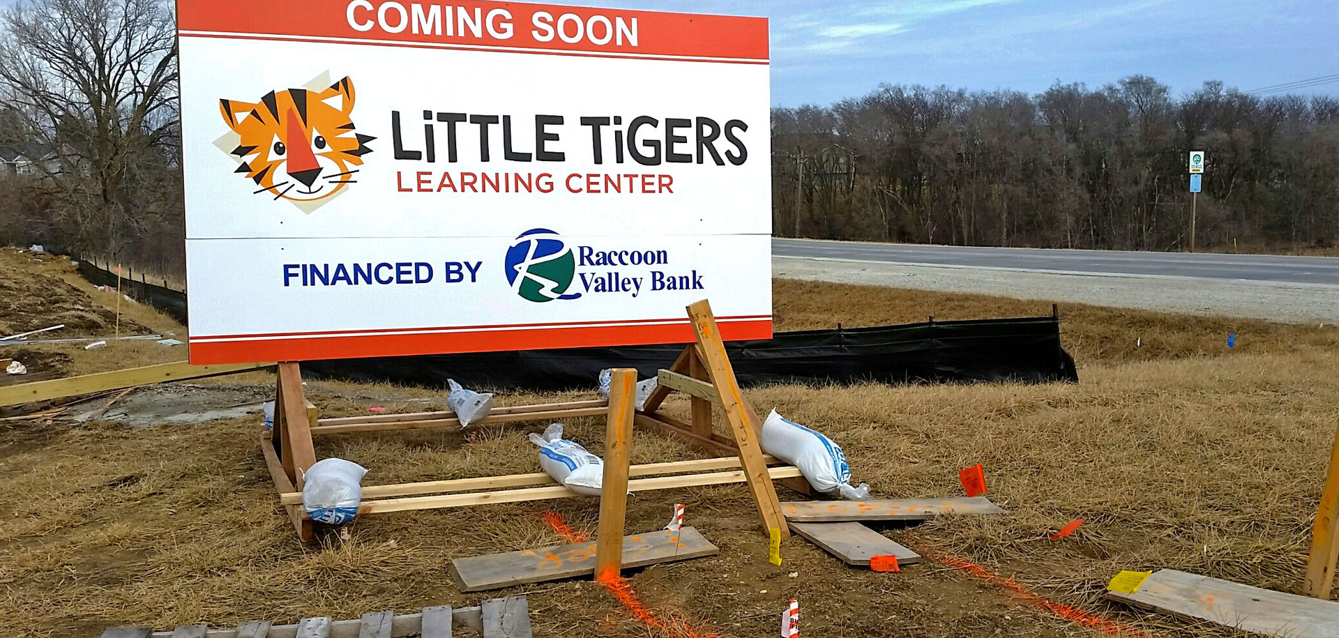 Little Tigers Site Sign on Skids