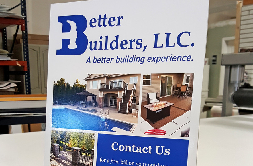 Better Builders Table Top Stand Design & Print
