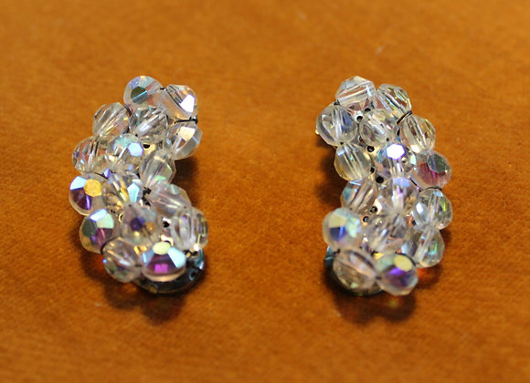 1950's Vintage glass beaded clip-on earrings