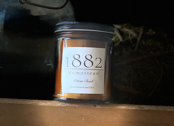 1882 Homestead Hand Poured Soy Candle-Citrus Basil